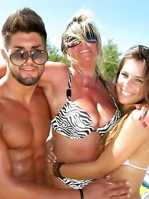 Tanned moms stripped naked in public