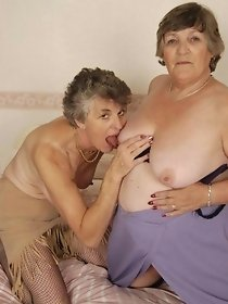 Filthy old lesbians lick each other