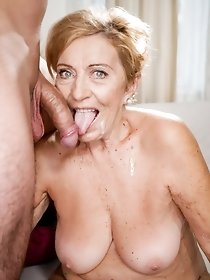 Horny grandma rides on hard young dick